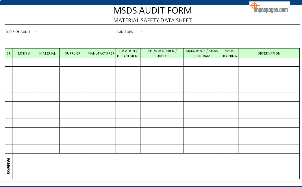 msds audit form