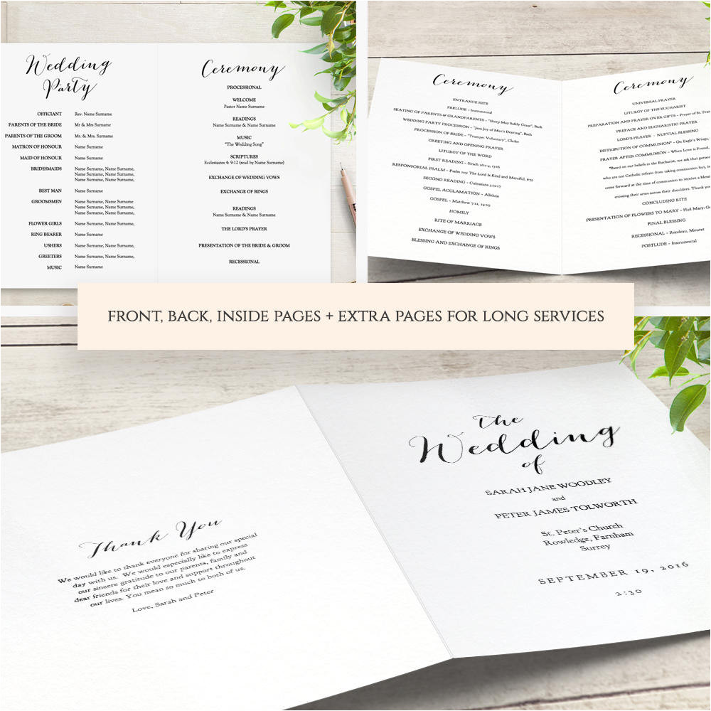 booklet wedding program template church