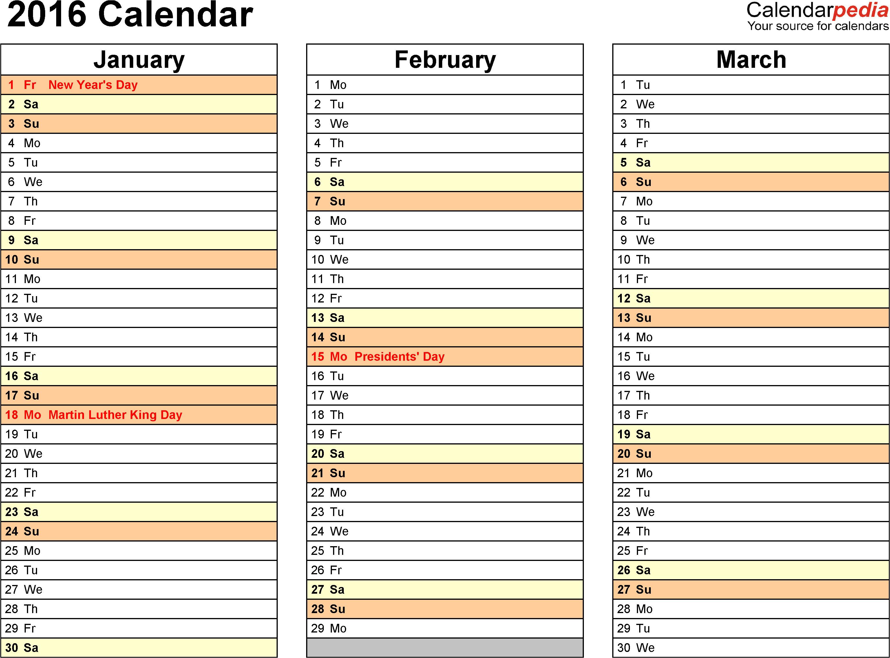 free multi months calendar