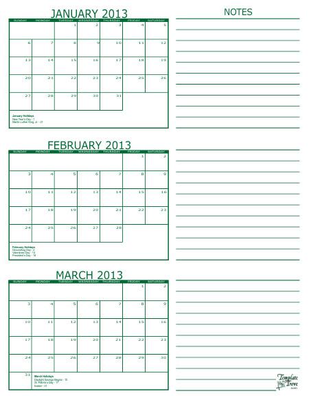 printable multi month calendars