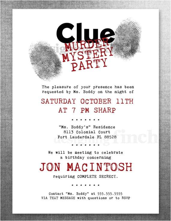 clue birthday invitation murder mystery