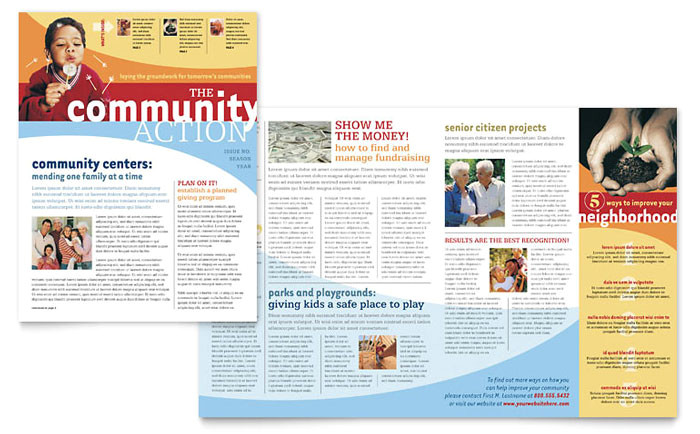 community non profit newsletter template design gb0260301