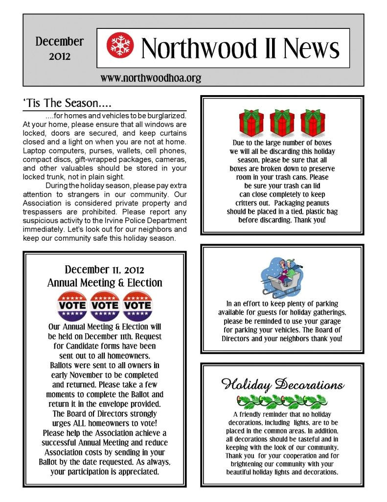 Neighborhood Newsletter Template December 2012 northwood Ii Nwii Hoa Community