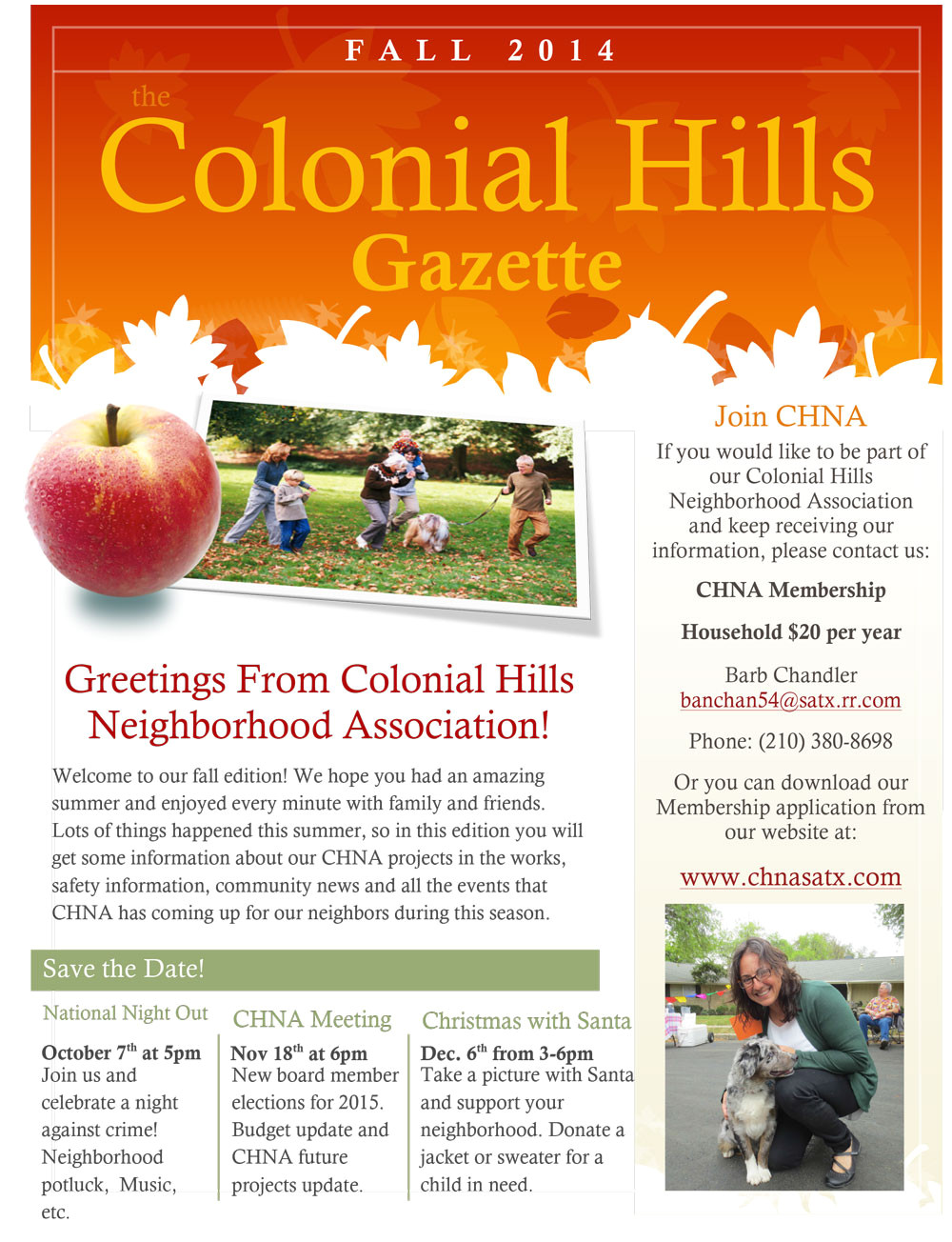 our colonial hills neighborhood association fall newsletter