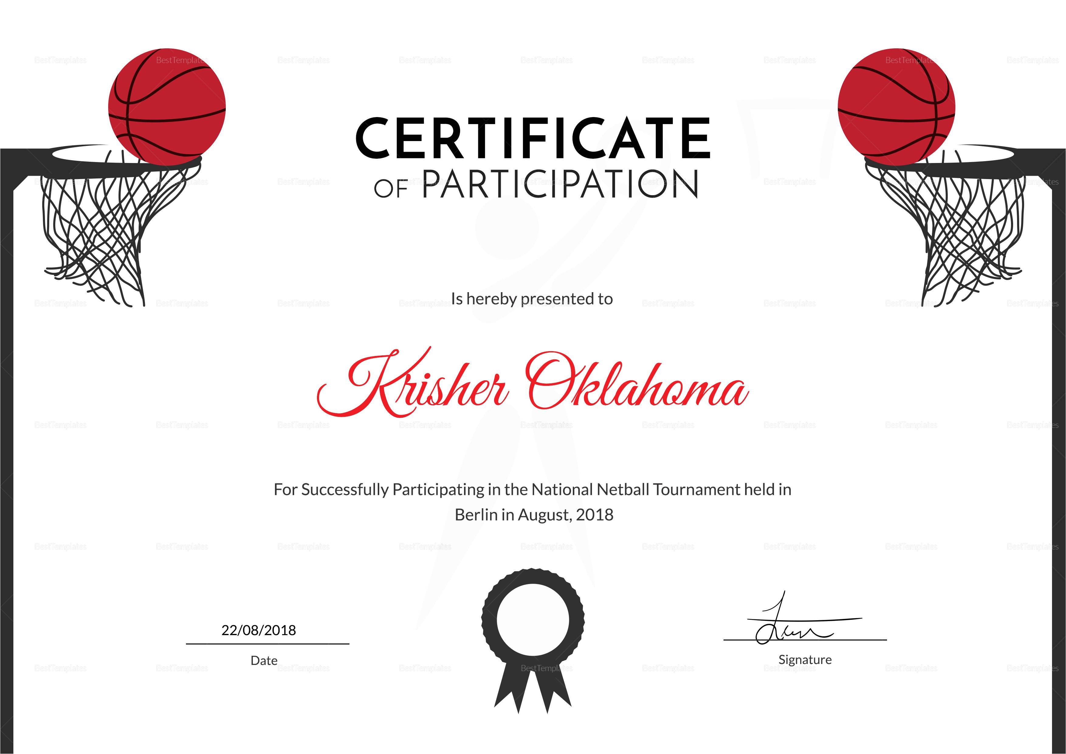 netball sports certificate