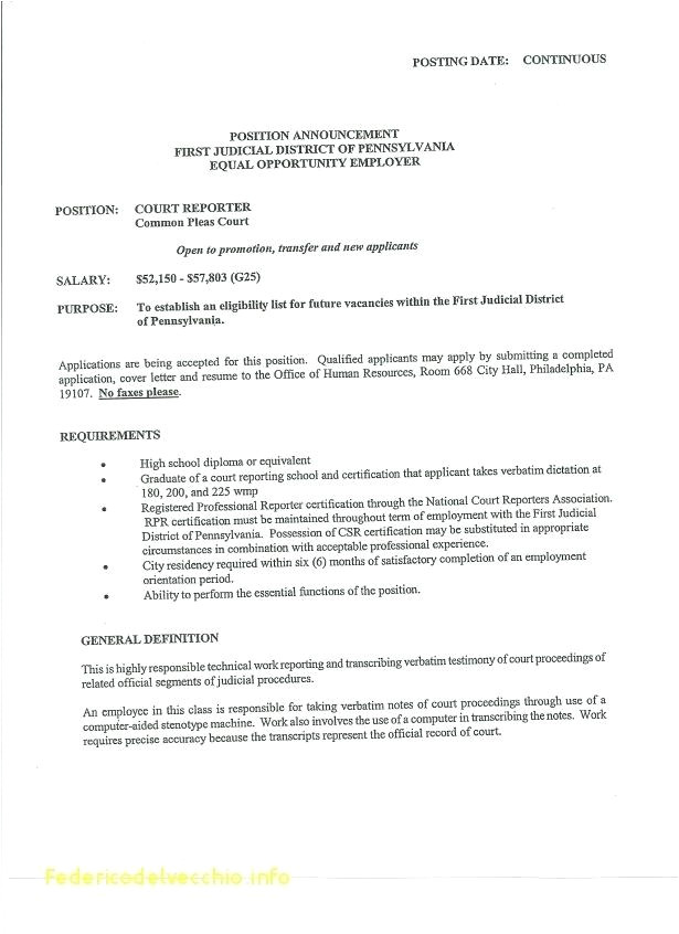 court reporter resume