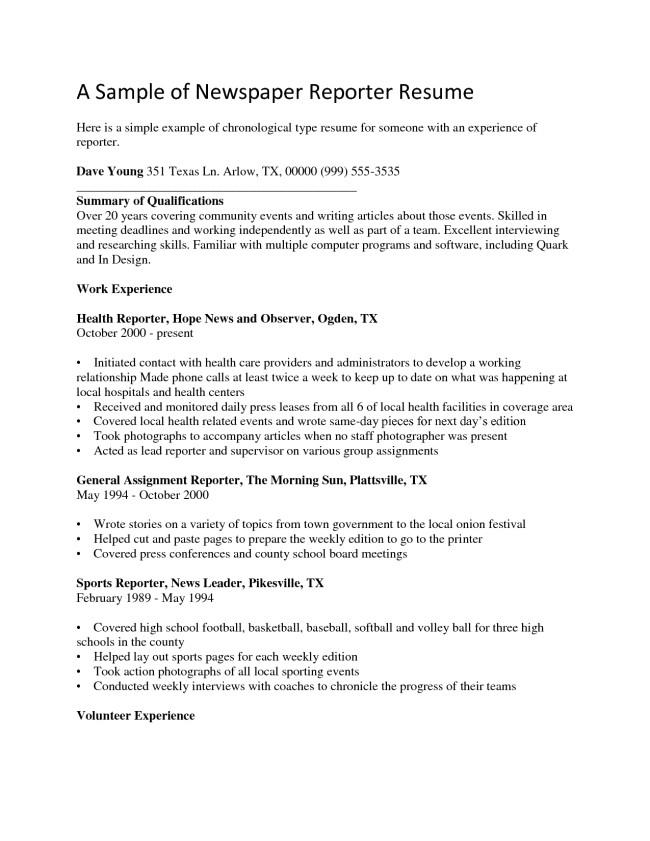 cover letter for journalist resume