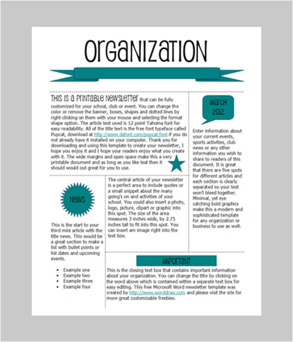 Newsletter Free Templates On Microsoft Word 6 Free Newsletter Word Templates Excel Pdf formats
