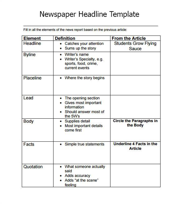Newspaper Header Template 7 Newspaper Headline Samples Sample Templates