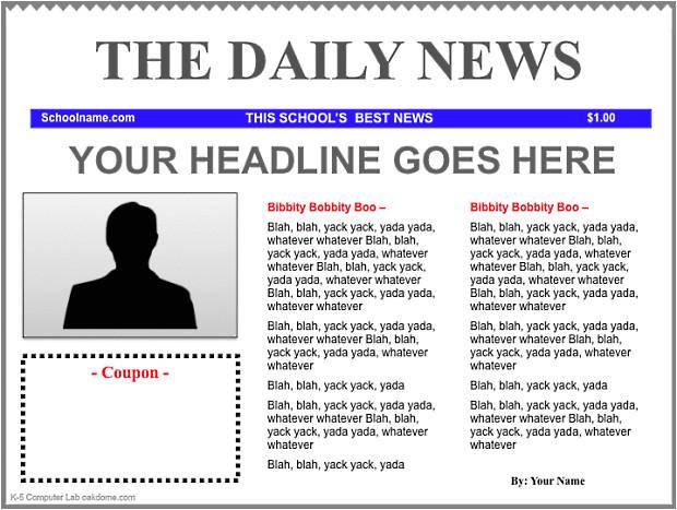 Newspaper Header Template Ipad Keynote Newspaper Templates K 5 Computer Lab