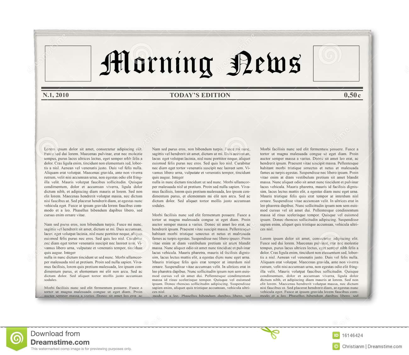 Newspaper Header Template Newspaper Headline Template Stock Images Image 16146424