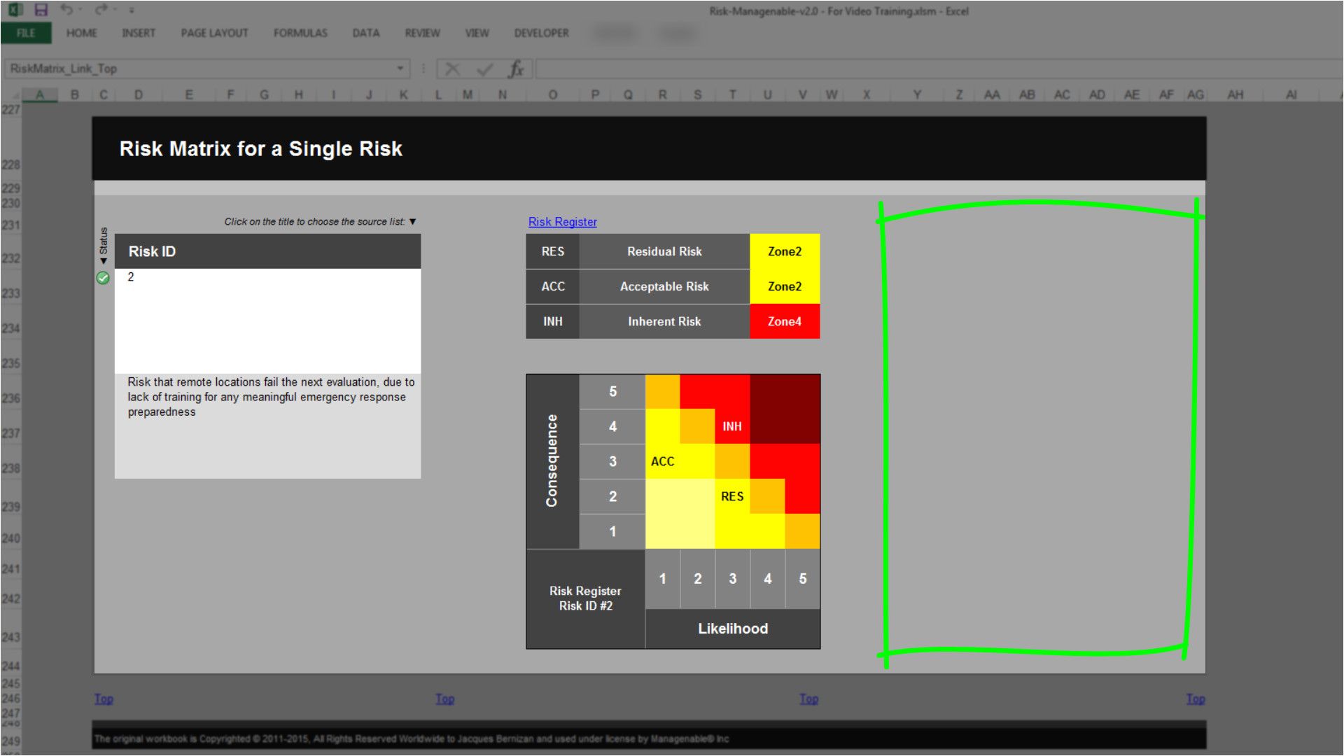 No Template Control Risk Template In Excel Training Overview Risk Matrix Tab