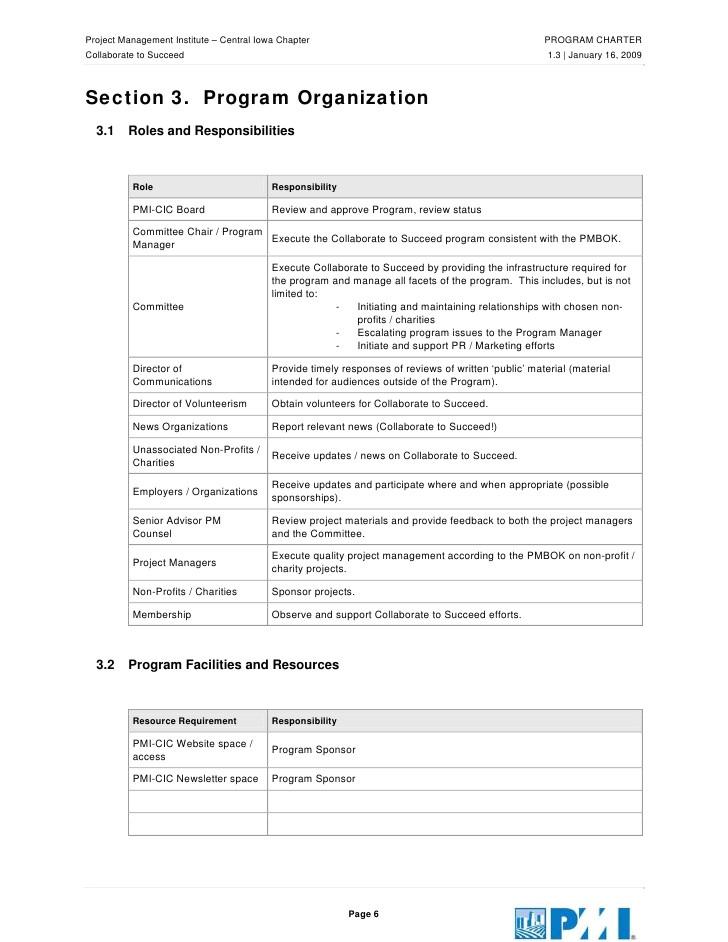 Non Profit Charter Template Pmi Charter Template Pmi Project Charter Template Edit