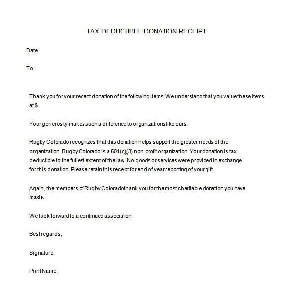 donation receipt template