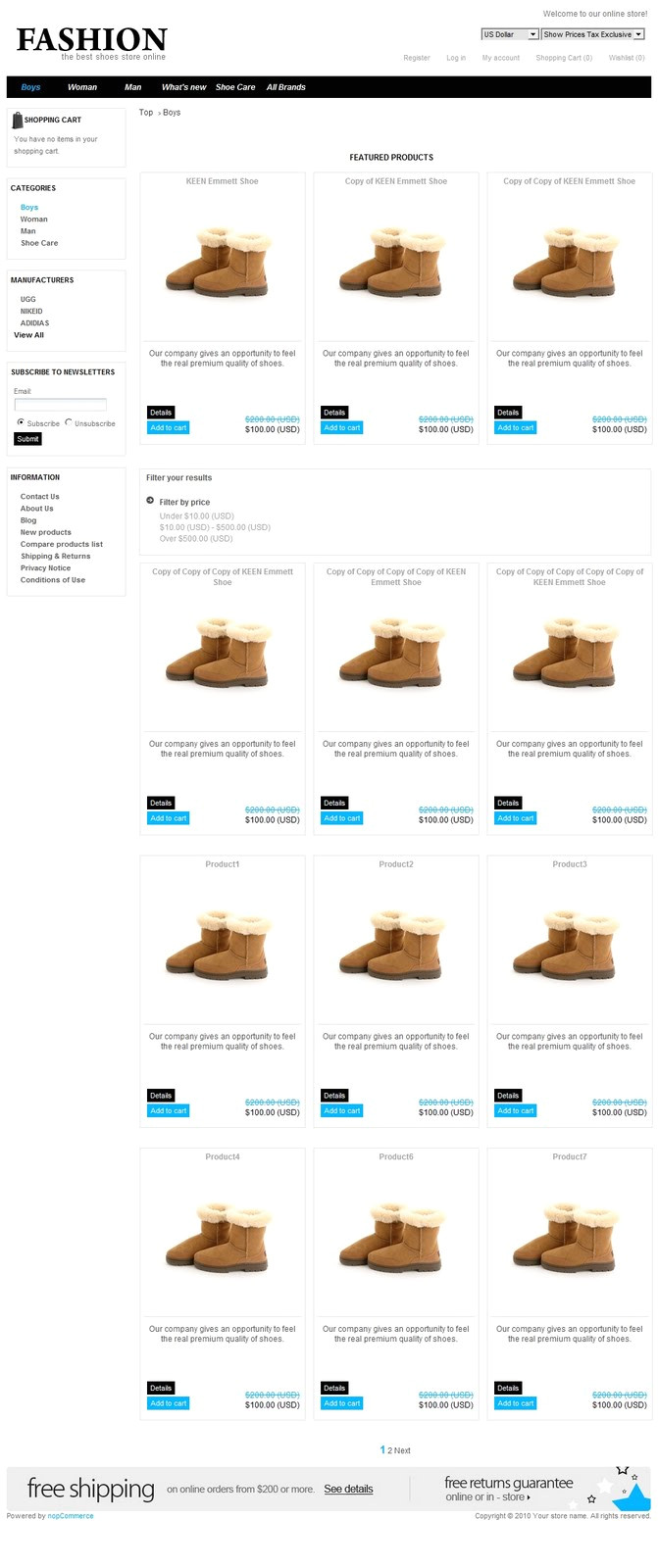 trendy shoes theme for nopcommerce150
