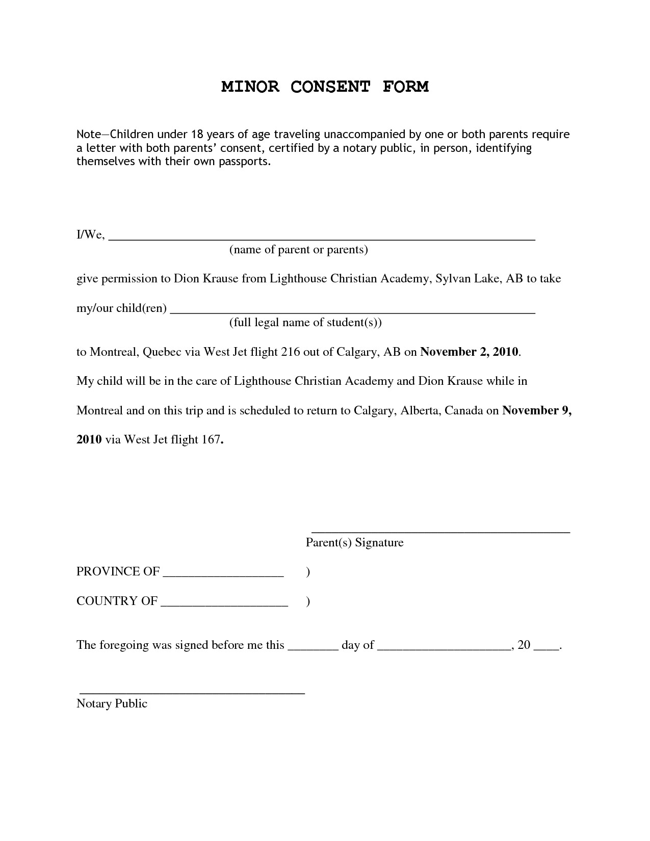 post notarized parental authorization letter 448589