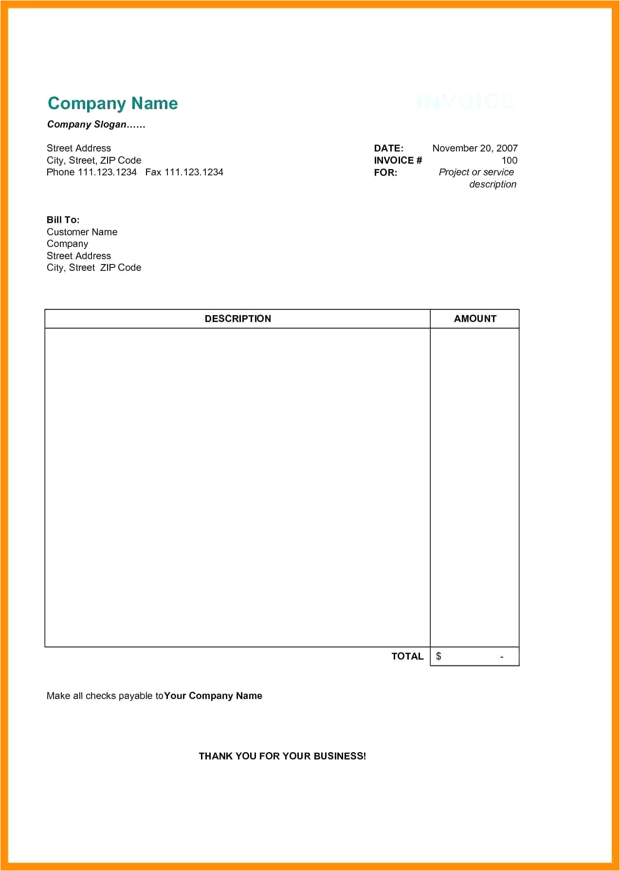 notary invoice sample