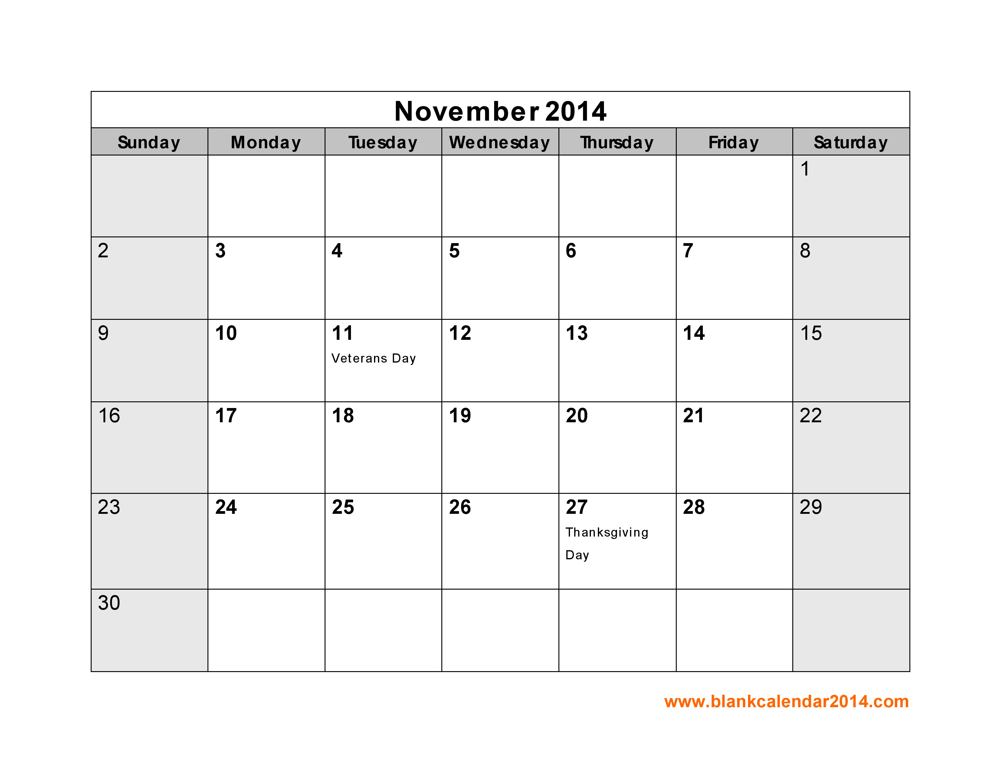 post november 2014 calendar with holidays printable 67493