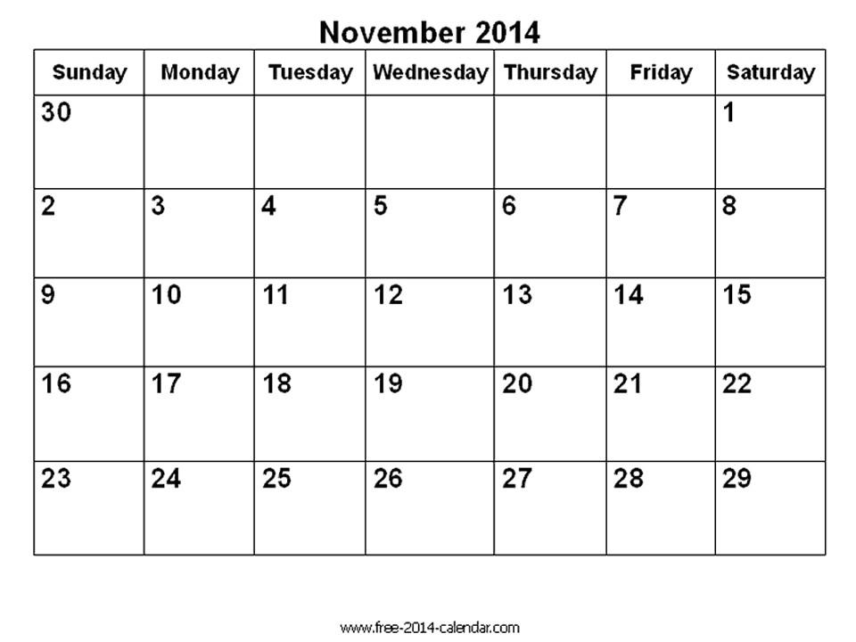 November 2014 Blank Calendar Template November 2014 Calendar Printable Blank Printable