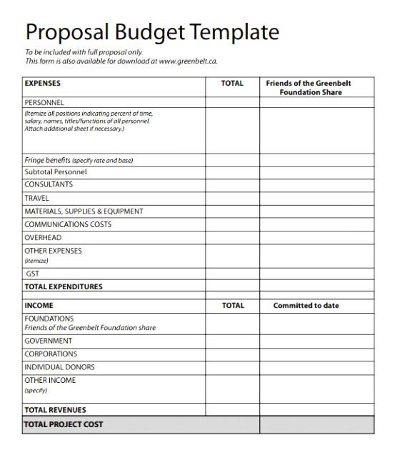 nsf budget template