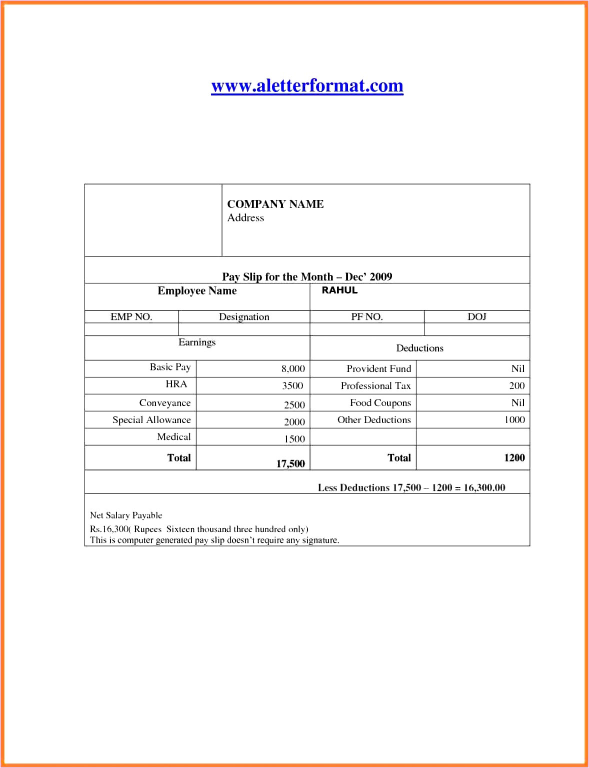 payslip template in excel o2712