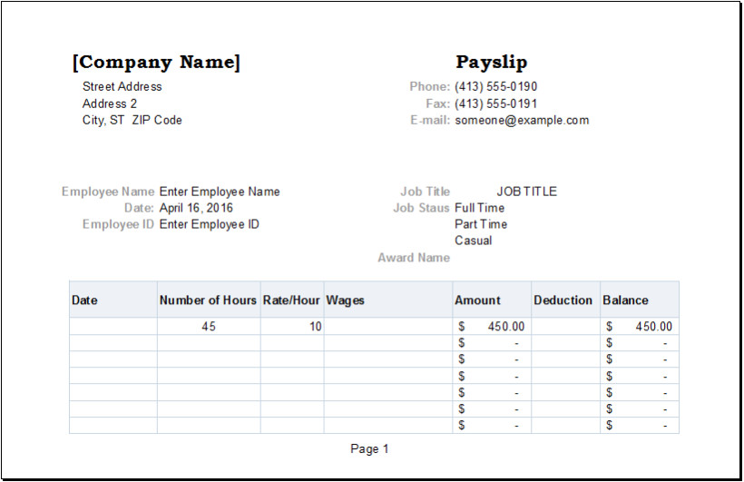 Nsw Payslip Template Employee Payslip Template for Ms Excel Excel Templates