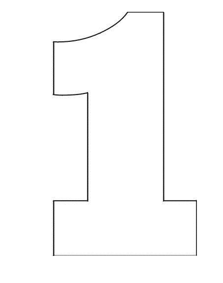 Number 1 Birthday Cake Template Coloring Pages Stencil Of Number 1 4 Zayn Pinterest