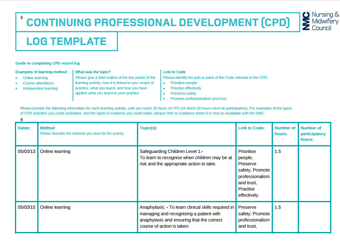 cpd nursing portfolio template