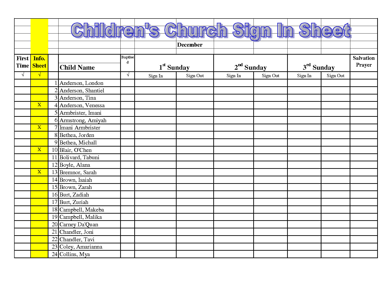 free church nursery sign in sheet template