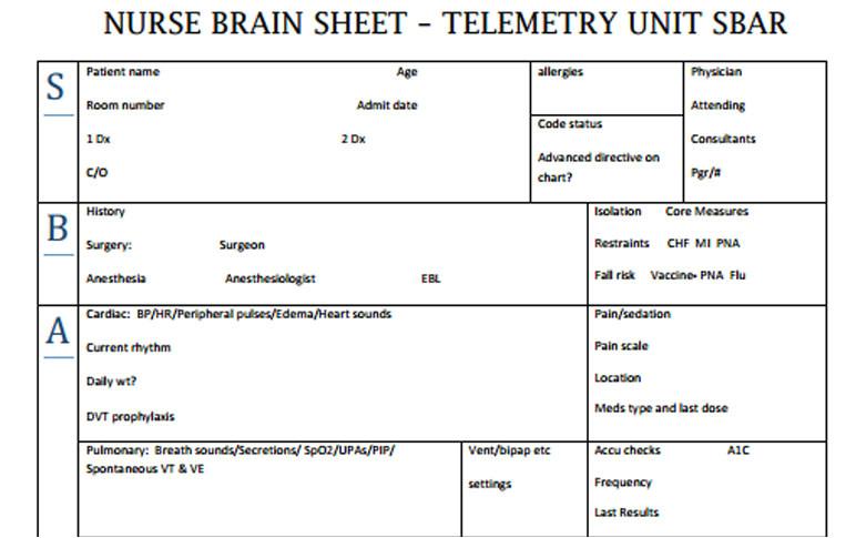 nurse brain sheets telemetry unit sbar