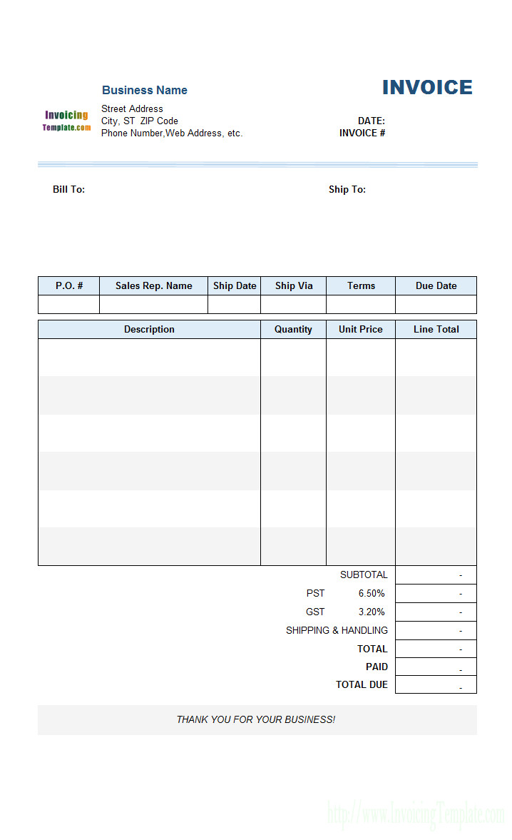 blank invoices to print