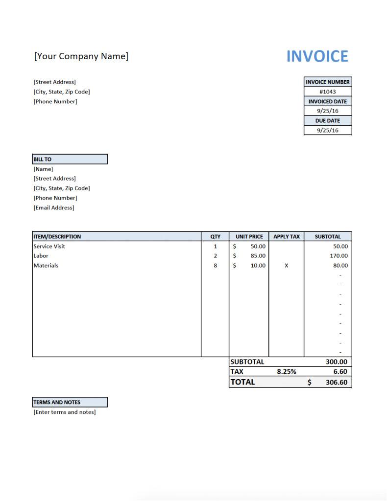 free invoice template contractors
