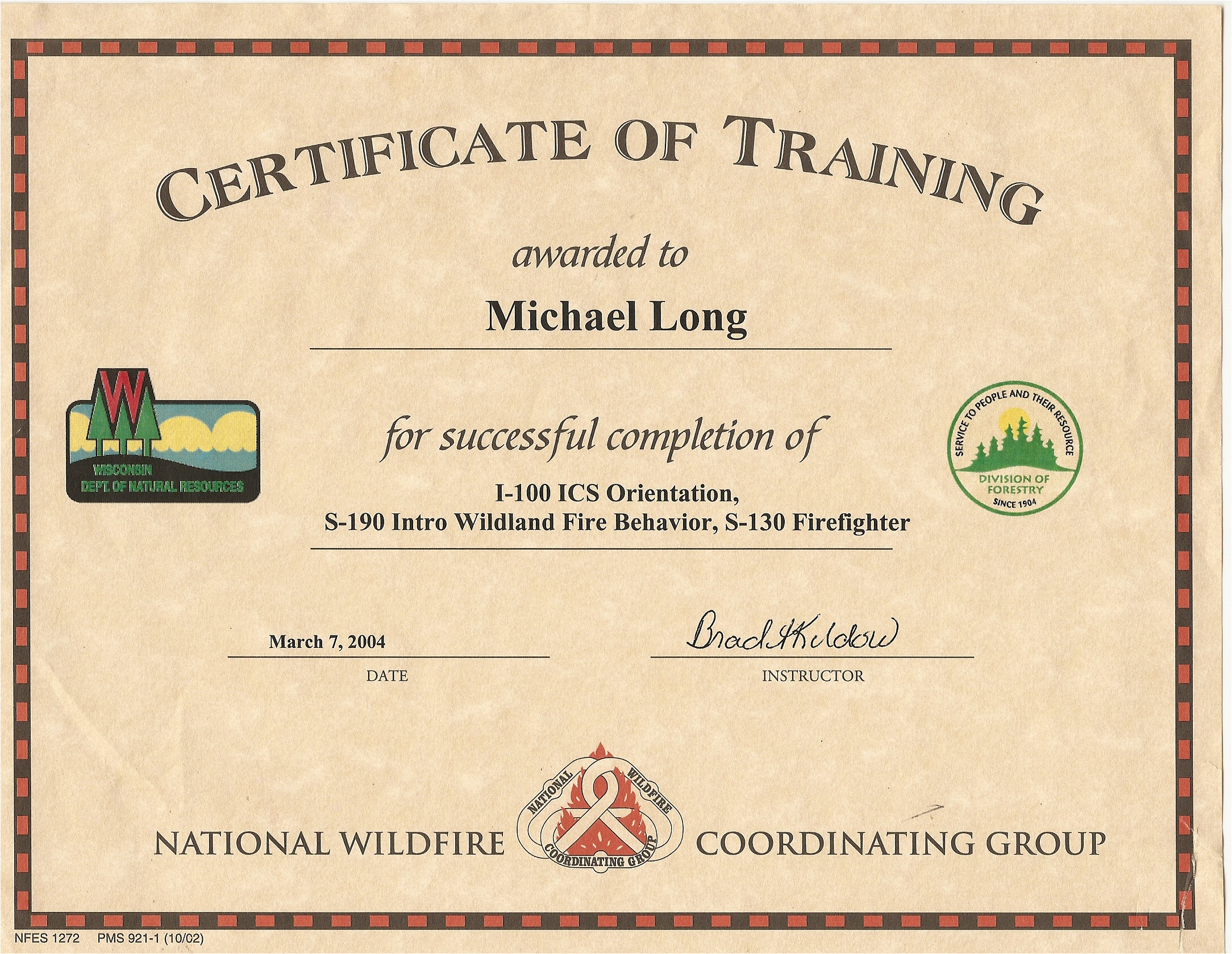 Nwcg Certificate Template Mike Long Cf Ms