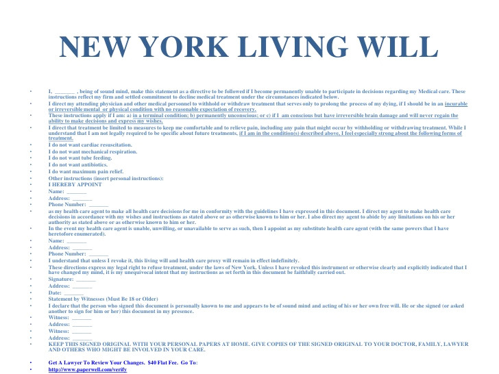 new york advance directives living will health care proxy form aka power of attorney