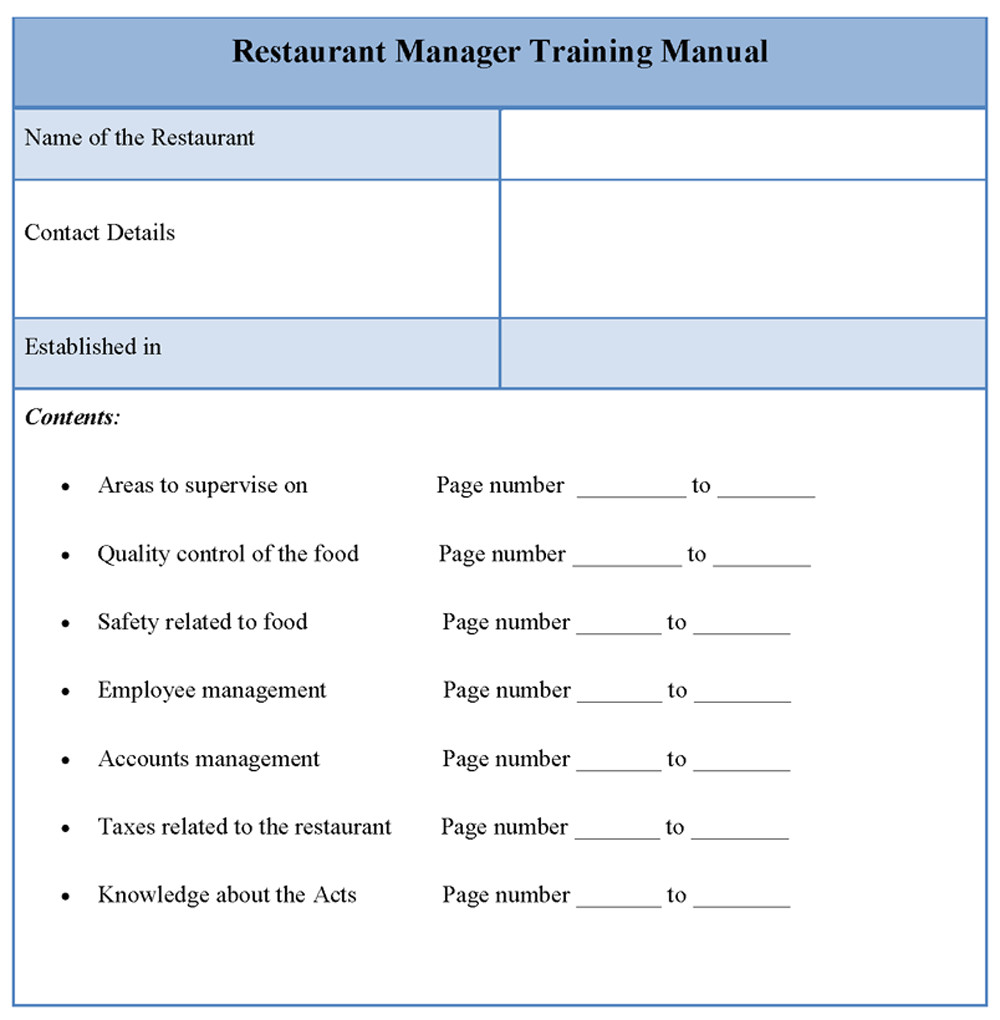 O and M Manual Template Manual Template for Restaurant Manager Training format Of
