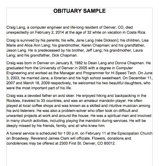 Obituaries Examples Templates 25 Obituary Templates and Samples Template Lab