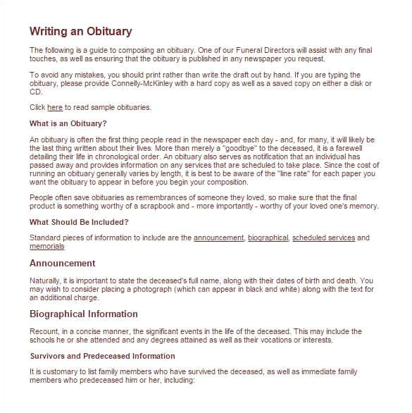 Obituary Guide Template 11 Obituary Templates Word Excel Pdf formats