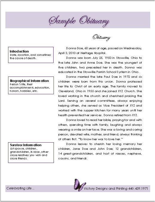 obituary templates 4
