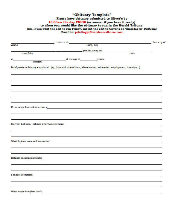 get obituary template free 1943