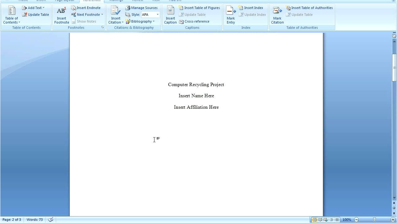 Office 2007 Apa Template How to Apply Apa format In Microsoft Word 2007