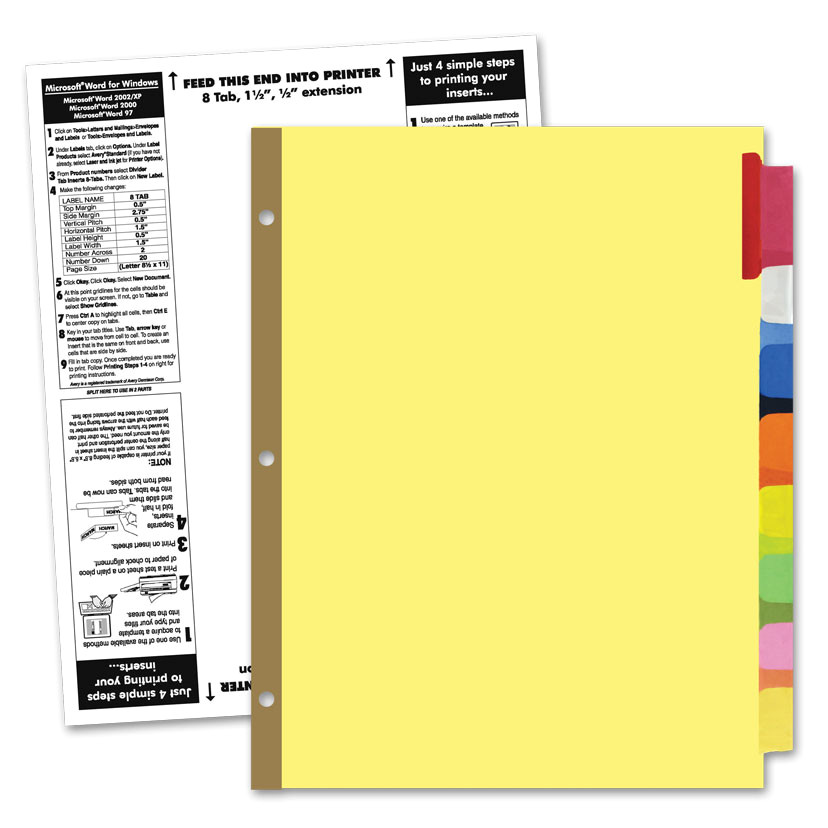 Office Depot Divider Templates 48 8 Tab Dividers Template Staples Insertable Big Tab