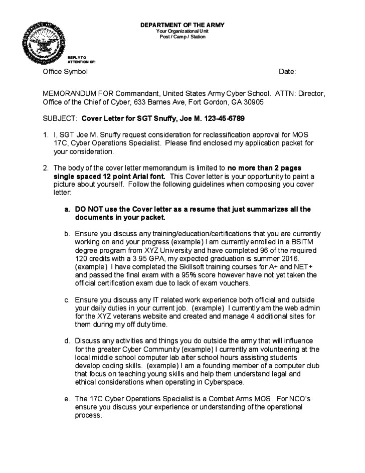 Official Memo Template Official Memorandum format for Army Free Download