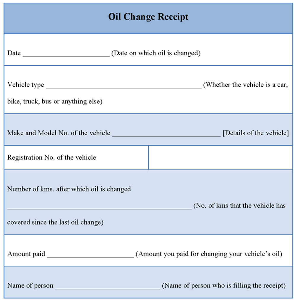 Oil Change Receipt Template Receipt Template for Oil Change Example Of Oil Change