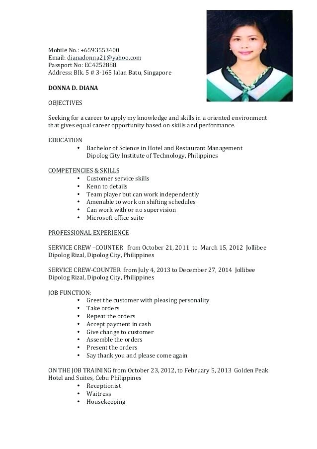 sample resume objectives for on the job training