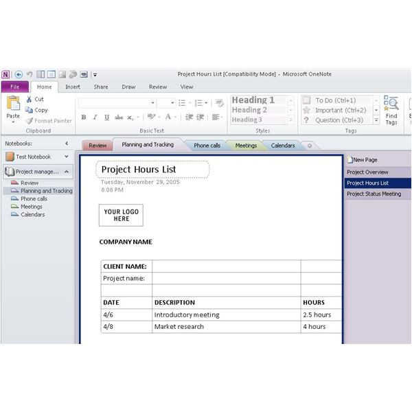 Onenote Section Template Using Ms Onenote Project Management for organization