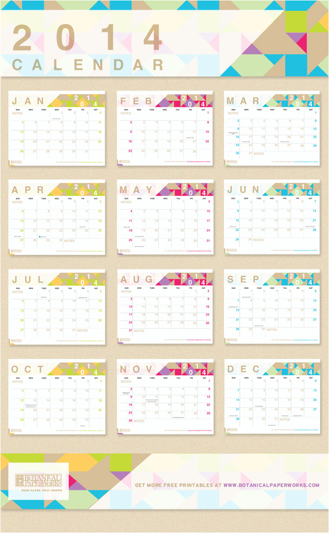 free printable 2014 monthly calendar
