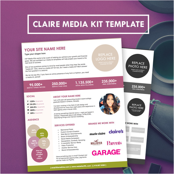 claire blog media press kit