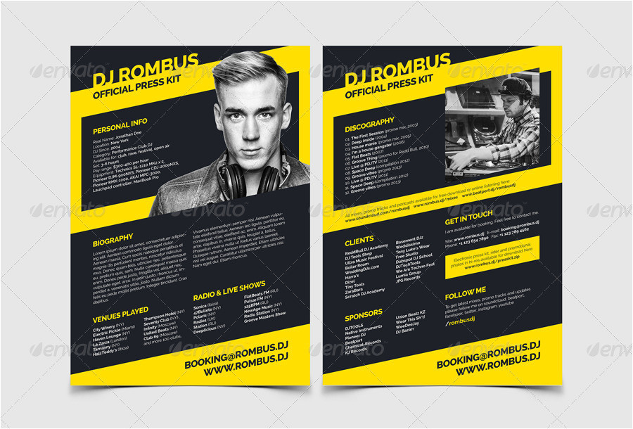dj press kit template free