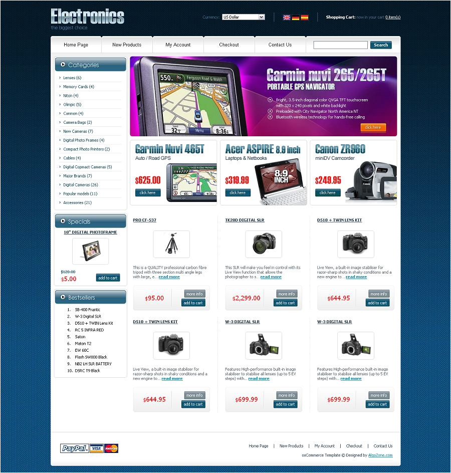Os Commerce Templates Os04a00409 Oscommerce Template for Electronic Stores