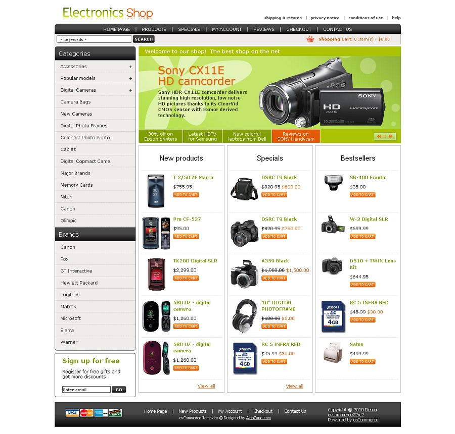 Os Commerce Templates Os04a00433 Oscommerce Template for Electronic Stores